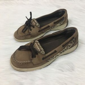 ⬇️$50 Sperry leather animal print Top Sliders sz 3